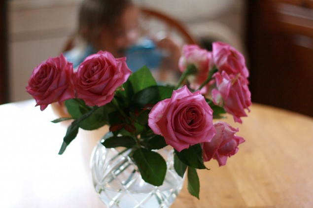 Crystal vase of pink roses