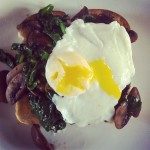 Stuff on Toast: Spinach, Mushrooms and Egg