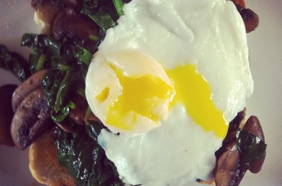 Mushrooms, Spinach and Egg on toast