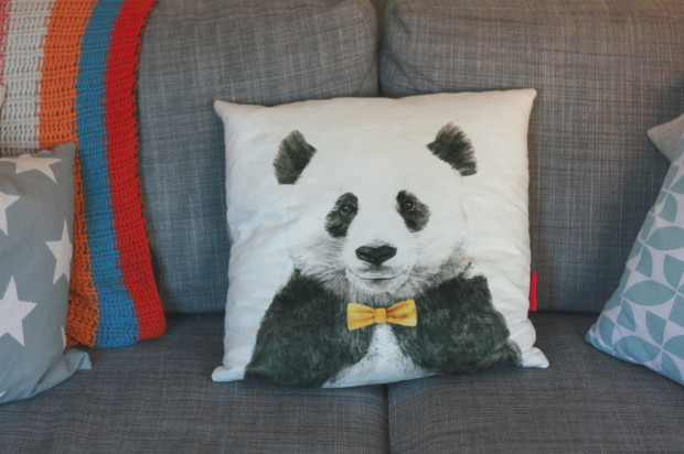 Panda bow-tie cushion