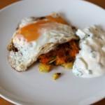 MTT: Leftover Veg Hash with Raita and an Egg