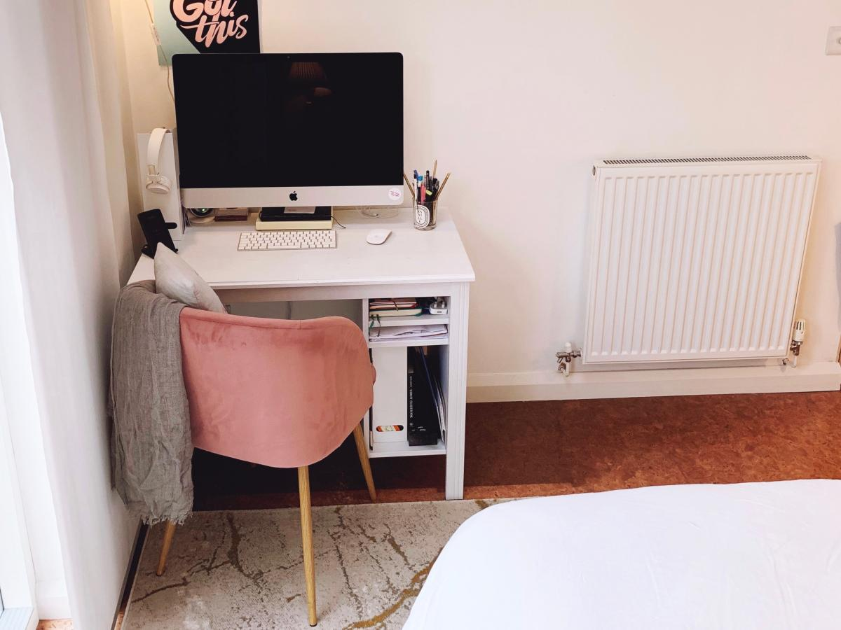 Bedroom rug and workspace